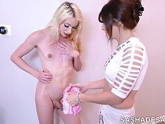 Bailey shows Sasha how to Suck Dick -  feminization session, MtF sissy bimbo