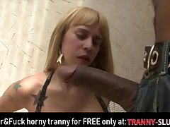 Blonde horny TS riding big cock!