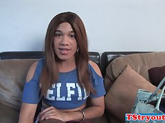 Tranny chick tugging her cock in casting tape