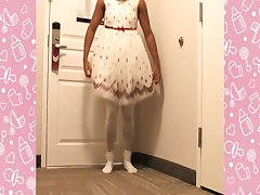 A NAUGTHY SISSY PLAY WITH YOUR GIRLY DRESS
