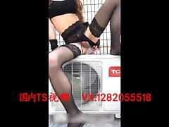 伪娘室外自慰 Sexy transvestites 蜜雅 in outdoor air conditioning machine masturbation